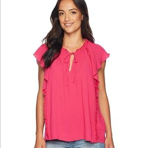 Cece flutter sleeve ruffled blouse with tie pink